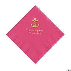 Hot Pink Anchor Personalized Napkins with Gold Foil - Luncheon