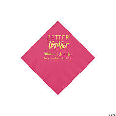 Hot Pink Better Together Personalized Napkins with Gold Foil - Beverage