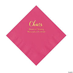 Hot Pink Cheers Personalized Napkins with Gold Foil - Luncheon