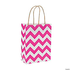 Hot Pink Chevron Kraft Paper Gift Bags