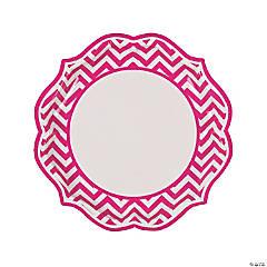 Hot Pink Chevron Scalloped Dinner Plates