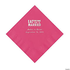 Hot Pink Eat, Drink And Be Married Napkins with Silver Foil - Luncheon