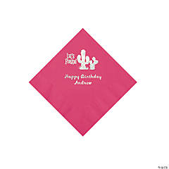 Hot Pink Fiesta Personalized Napkins with Silver Foil - Beverage