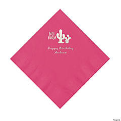Hot Pink Fiesta Personalized Napkins with Silver Foil - Luncheon
