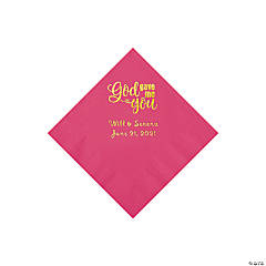 Hot Pink God Gave Me You Personalized Napkins with Gold Foil - Beverage