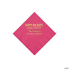Hot Pink Happy Holidays Personalized Napkins with Gold Foil – Beverage