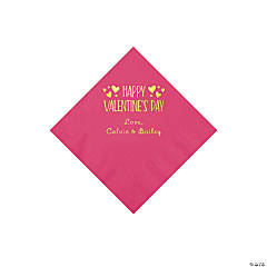 Hot Pink Happy Valentine's Day Personalized Napkins with Gold Foil - Beverage