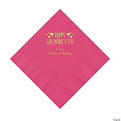 Hot Pink Happy Valentine's Day Personalized Napkins with Gold Foil - Luncheon