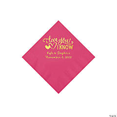 Hot Pink I Love You, I Know Personalized Napkins with Gold Foil - Beverage