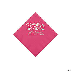 Hot Pink I Love You, I Know Personalized Napkins with Silver Foil - Beverage