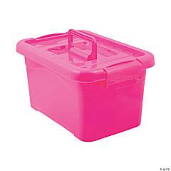 Hot Pink Large Locking Storage Bins with Lids