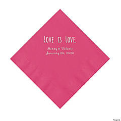 Hot Pink Love is Love Personalized Napkins with Silver Foil - Luncheon