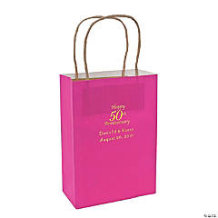 Hot Pink Medium 50th Anniversary Personalized Kraft Paper Gift Bags with Gold Foil