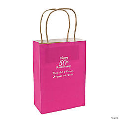 Hot Pink Medium 50th Anniversary Personalized Kraft Paper Gift Bags with Silver Foil