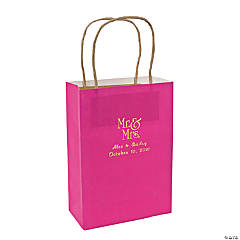 Hot Pink Medium Mr. & Mrs. Personalized Kraft Paper Gift Bags with Gold Foil