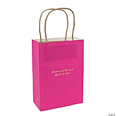 Hot Pink Medium Personalized Kraft Paper Gift Bags with Gold Foil