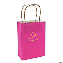 Hot Pink Medium Personalized Monogram Welcome Gift Bags with Gold Foil