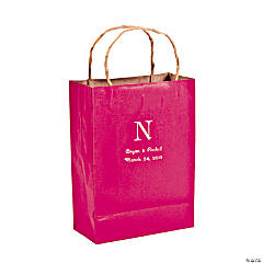 Hot Pink Medium Personalized Monogram Welcome Gift Bags with Silver Foil