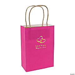 Hot Pink Medium Two Hearts Personalized Kraft Paper Gift Bags with Gold Foil