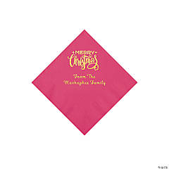 Hot Pink Merry Christmas Personalized Napkins with Gold Foil - Beverage