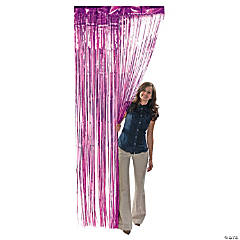 Hot Pink Metallic Fringe Door Curtain
