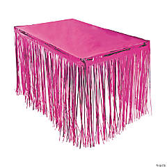 Hot Pink Metallic Fringe Plastic Table Skirt