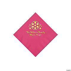 Hot Pink Movie Night Personalized Napkins with Gold Foil – Beverage