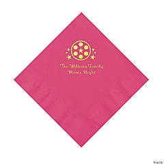 Hot Pink Movie Night Personalized Napkins with Gold Foil – Luncheon