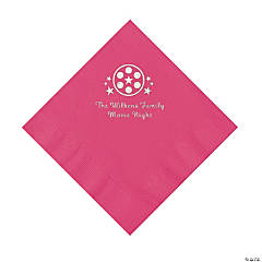 Hot Pink Movie Night Personalized Napkins with Silver Foil – Luncheon