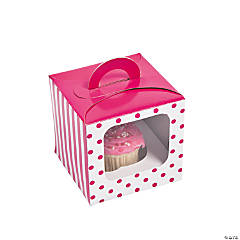 Hot Pink Polka Dot Cupcake Boxes with Handle