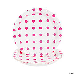 Hot Pink Polka Dot Dessert Plates