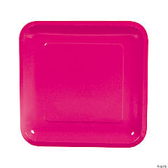Hot Pink Square Paper Dinner Plates - 18 Ct.