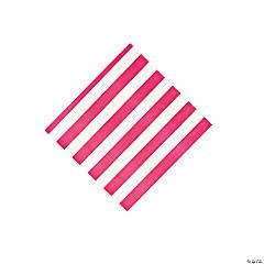 Hot Pink Striped Beverage Napkins