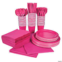 Hot Pink Tableware Kit for 48 Guests