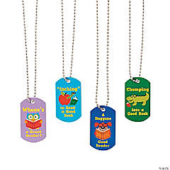I Love Reading Dog Tag Necklaces