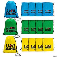 I Love Reading Drawstring Bags