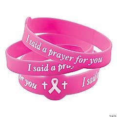 I Said A Prayer For You Pink Ribbon Rubber Bracelets