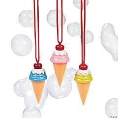 Ice Cream Cone Bubble Bottle Necklaces - 12 Pc.