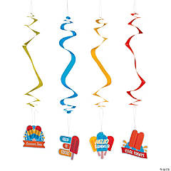 Ice Pop Party Hanging Swirl Decorations - 12 Pc.