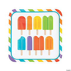 Ice Pop Party Square Paper Dinner Plates - 8 Ct.