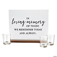 In Loving Memory Sign with Votive Candle Holders