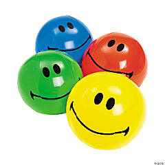 "Inflatable 11"" Smile Face Medium Beach Balls"
