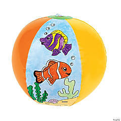 "Inflatable 12"" Color Your Own Fish Large Beach Balls"