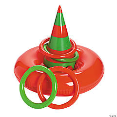 Inflatable Elf Hat Ring Toss Game
