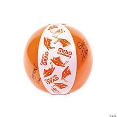 "Inflatable Orange ""Congrats Grad"" Autograph Beach Balls"