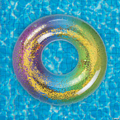 Inflatable Rainbow Glitter Ring Pool Float