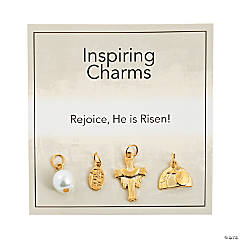 Inspiring Easter Faith Charms with Inspirational Tag - Goldtone