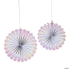 Iridescent Hanging Paper Fans