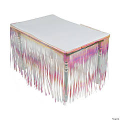 Iridescent Metallic Fringe Table Skirt