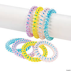 Iridescent Phone Cord Spiral Bracelet Assortment